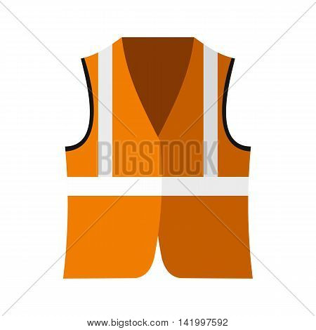 Orange safety vest icon in flat style on a white background