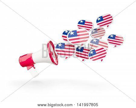 Megaphone With Flag Of Liberia