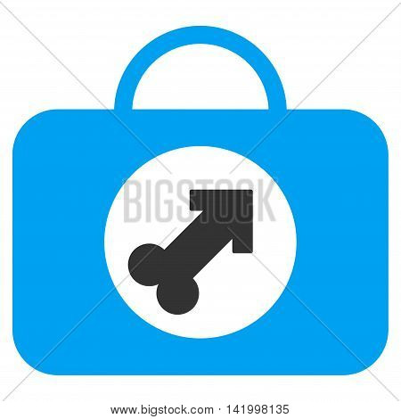 Male Erection Case vector icon. Style is bicolor flat symbol, blue and gray colors, rounded angles, white background.