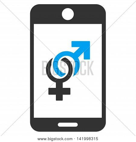 Mobile Dating vector icon. Style is bicolor flat symbol, blue and gray colors, rounded angles, white background.