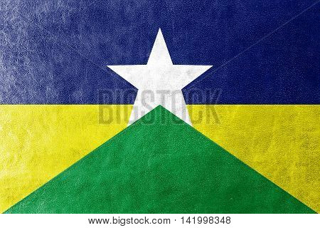 Flag Of Rondonia State, Brazil, Painted On Leather Texture