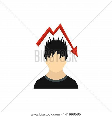 Man with falling red graph over his head icon in flat style on a white background