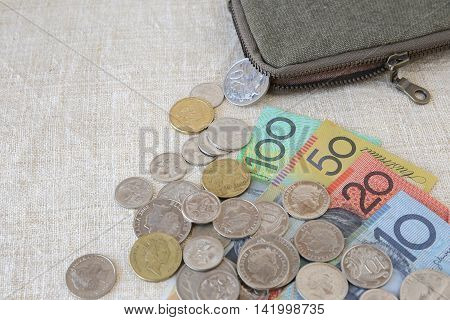 Australian money AUD with small money pouch