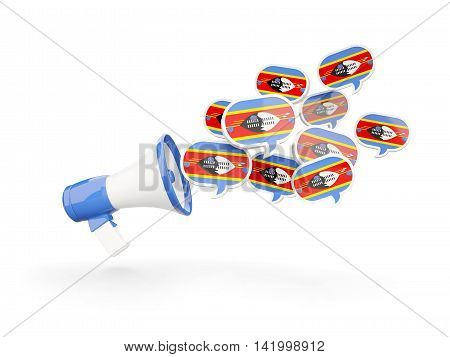 Megaphone With Flag Of Swaziland