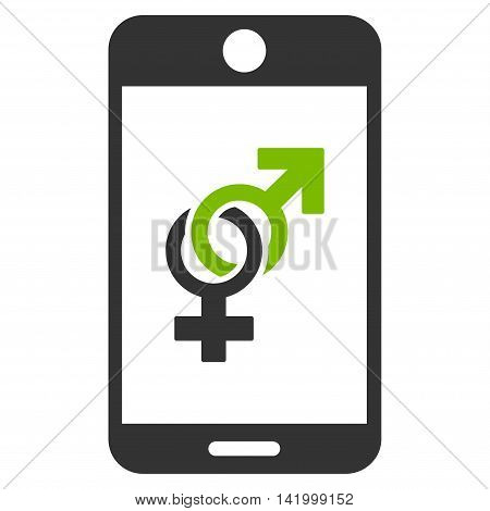 Mobile Dating vector icon. Style is bicolor flat symbol, eco green and gray colors, rounded angles, white background.