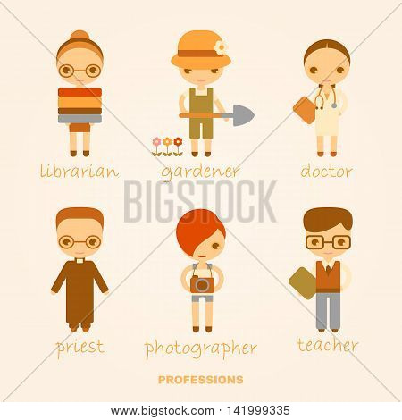 set of vector cartoon illustrations of professions with people