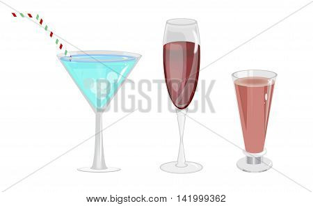 Alcohol drinks in glasses transparent set isolated vector. Beverage cocktail wine alcohol glasses. Selection of colorful festive Christmas drinks, alcoholic beverages and cocktails in elegant glasses