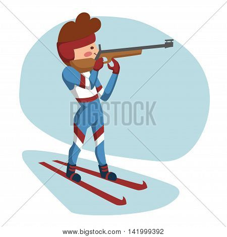 Biathlete on the slopes, preparing to fire. Standing on a white-blue background.