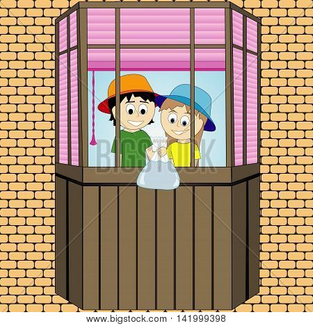 Pranks children on the balcony. Summer season. Vector graphics