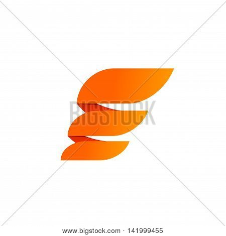 Abstract wing logo element vector design isolated on white background, flat orange flame logotype with gradients, creative modern trendy icon, wing energy emblem, brand symbol
