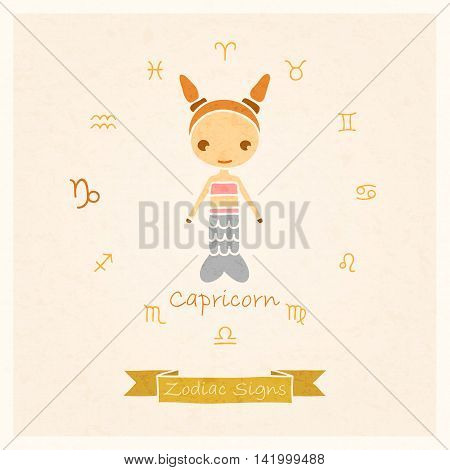 vector illustration of Capricorn zodiac sign with texture of paper