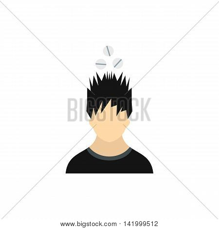 Man with tablets over his head icon in flat style on a white background