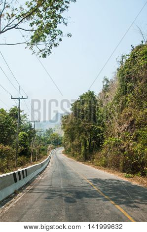 road in local of Thailand countryside forest