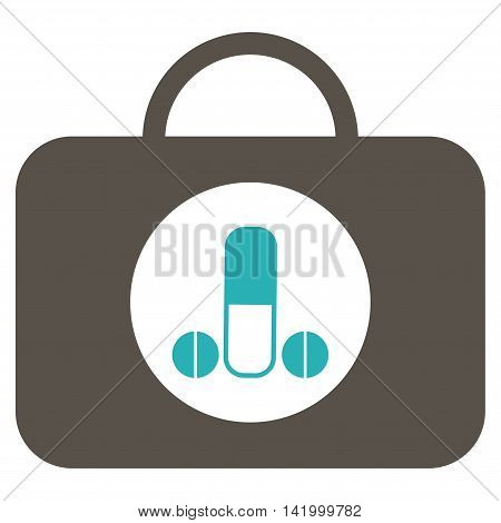 Male Sexual Toolbox vector icon. Style is bicolor flat symbol, grey and cyan colors, rounded angles, white background.