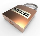 Safeguards Padlock Shows Security Unsafe And Preventive 3D Rendering poster