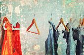 Pastel Female Cloth Open Rail Vintage Effect poster