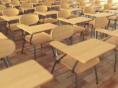 School classroom with empty school chairs and blackboard. Back to school concept. 3d illustration poster