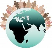 foto of eastern hemisphere  - Many diverse people stand on the Western Hemisphere as symbols of the Population of Earth - JPG