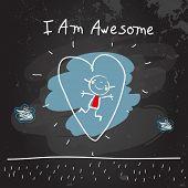 Positive affirmations for kids, motivational, inspirational concept vector illustration. I am awesom poster
