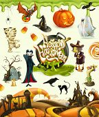 Halloween 3d vector icons. Pumpkin, ghost, spider, witch, vampire, zombie, grave, candy corn. Set of poster