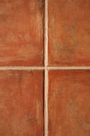 image of ceramic tile  - Closeup of terracotta color ceramic tiles pattern - JPG