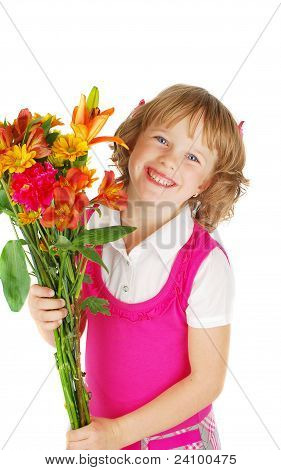 Happy   Little  Girl  With Flowers.