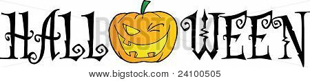 Halloween Text With Pumpkin Winking