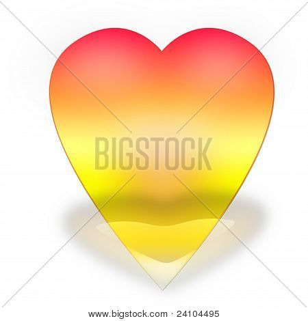 Heart of gold glossy, three-dimensional on a white background