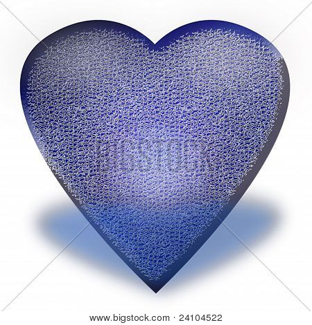 The heart of the blue with frost on a white background