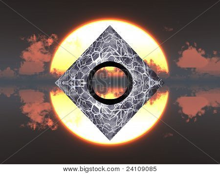 pyramid and sun