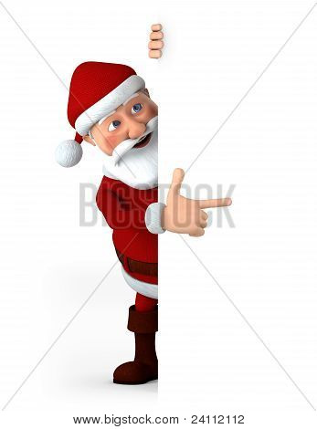 Santa Pointing At Blank Sign