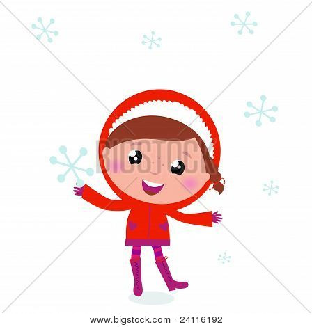 First Snow: Cute Winter Child Holding Snowflake..