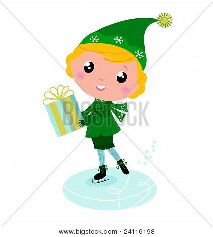Cute Ice Skating Elf Boy With Big Gift..