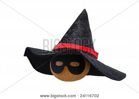 Halloween Pumpkin In Witch Hat And Black Mask