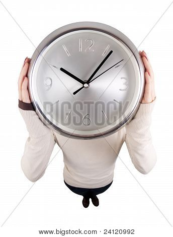 Girl Holding Clock At Head Height