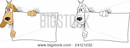Dog Holding Blank Sign