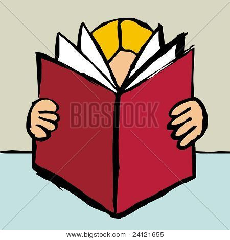 Person Reading A Big Red Book