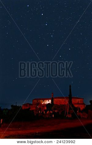 Big Dipper Constellation Over A Countryside Scene