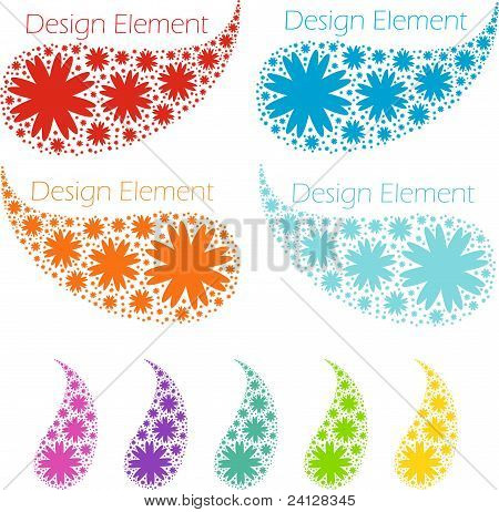 Design elements, drops from snowflakes