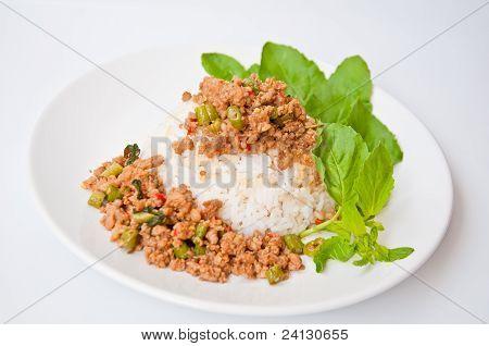 Delicious Thai food call KHAO KAPRAO MOO