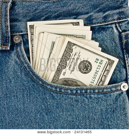 Money In  Front-pocket  Of Jeans