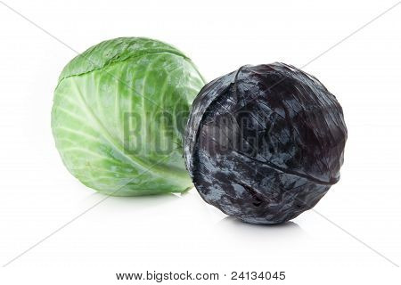 Red And Green Cabbage On White Background
