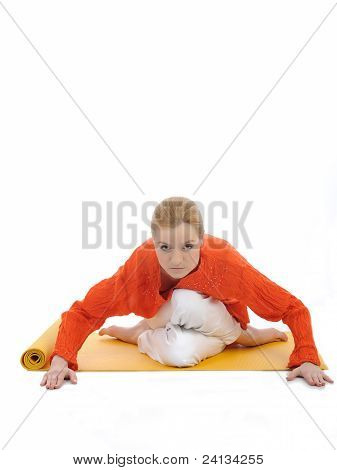 Series Or Yoga Photos. Young Woman Doing Yoga Pose On Yellow Pilates Mat