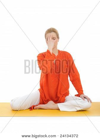 Young Woman Doing Yoga Breath Practics