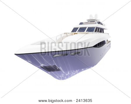 Big Yacht Isolated Front View