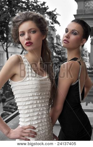Elegant Young Ladys Dressed Outside