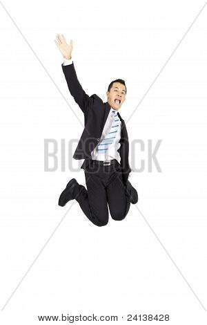 happy asian businessman jumping and isolated on white