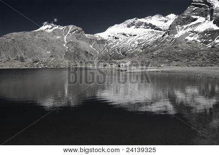 alpine lake in infrared