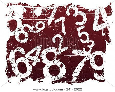 Red Grunge Illustration with Acid Etched Numbers (Layered Vector)
