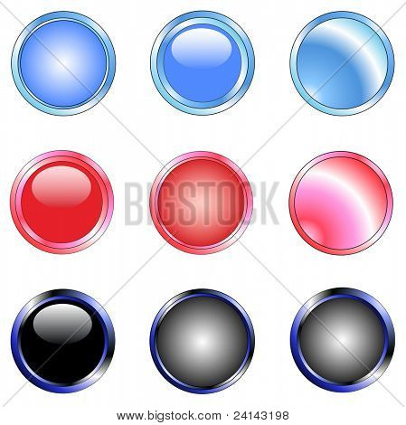 9 Shiny Web Buttons with silver metallic edging